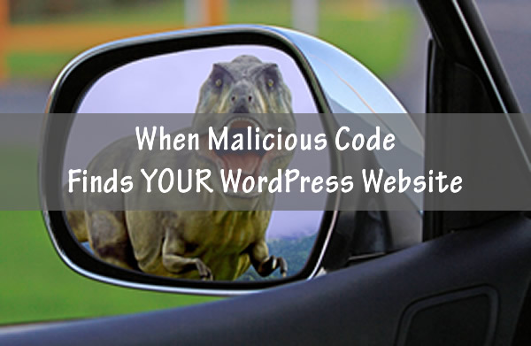 Dinosaur chasing car to resemble malicious code hitting your WordPress website